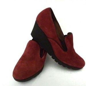 Donald Pliner Red Leather Wedge Platform Shoes 9.5